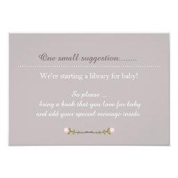 Rustic Floral Girl's Baby Shower Note Insert Card