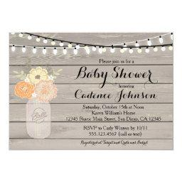 Rustic Floral Orange Yellow Baby Shower Invite