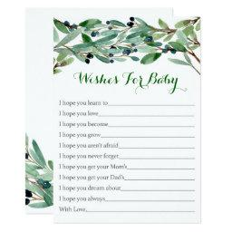 Rustic Green Floral Wishes For Baby