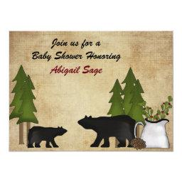 Rustic Mountain Woodland Bears  Invite
