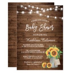 Rustic Sunflowers Mason Jar Lights Baby Shower