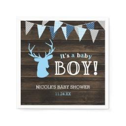 Rustic Wood Blue Deer Boy  Paper Napkin