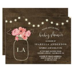 Rustic Wood Floral Mason Jar & Light Baby Shower