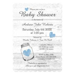Rustic wood mason jar boy baby shower