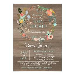 Rustic Wood, Vintage Floral Wreath