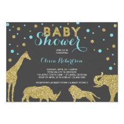 Safari Baby Shower Invitation, Faux Gold, Aqua