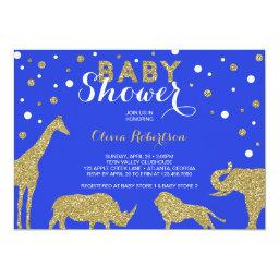 Safari Baby Shower Invitation, Faux Gold, Blue