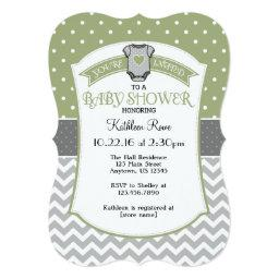 Sage Gray Polka Dot Chevron  Invite
