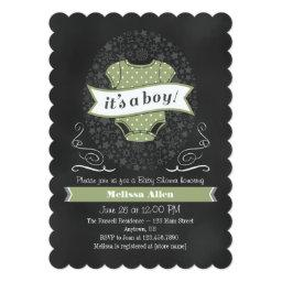 Sage Green Chalkboard Boy  Invite
