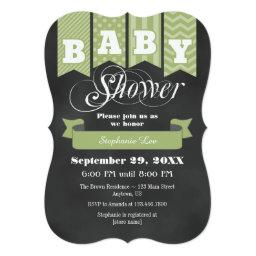 Sage Green Chalkboard Flag  Invite