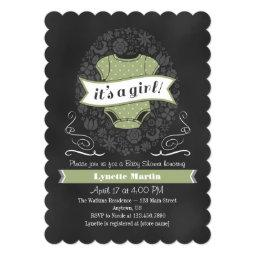 Sage Green Chalkboard Girl  Invite