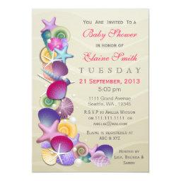 sandy ocean theme Pink Baby shower Invites