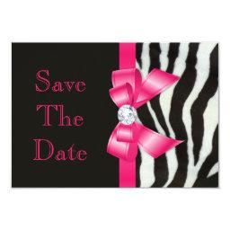 Save The Date  Zebra Hot Pink Bow