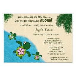 Sea TURTLE Baby Shower Invite TWIN (Honu) 01C2
