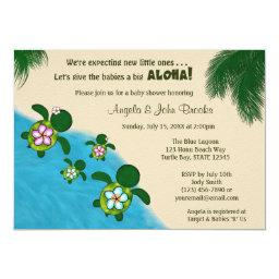 Sea TURTLE Baby Shower Invite TWIN (Honu) 01D2