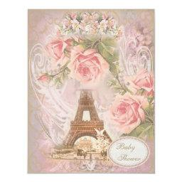 Shabby Chic Eiffel Tower Pink Floral Baby Shower