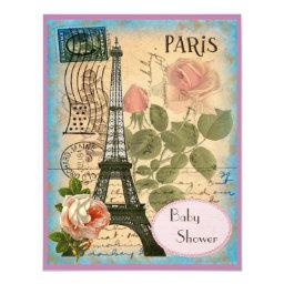 Shabby Chic Paris Eiffel Tower & Roses Baby Shower