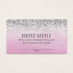 Silver and Pink Baby Shower Diaper Raffle Tickets