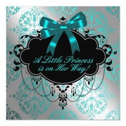 Silver and Teal Blue Princess Baby Girl Shower