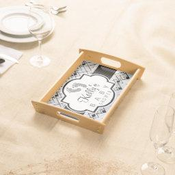 Silver & Black Art Deco Baby Shower Serving Tray