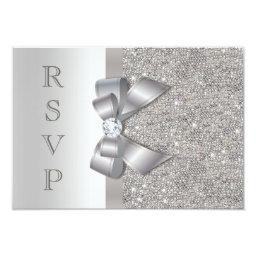 Silver Faux Bow & Diamonds RSVP