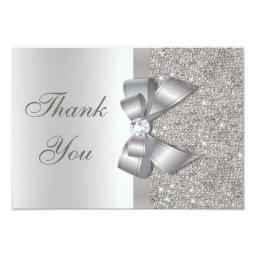 Silver Faux Bow & Diamonds Thank You