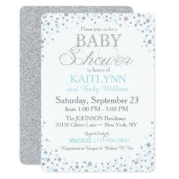 Silver Glitter and Blue Sprinkle Baby Shower
