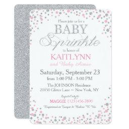 Silver Glitter and Pink Sprinkle Baby Shower