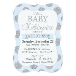 Silver Glitter Dots  Invitation