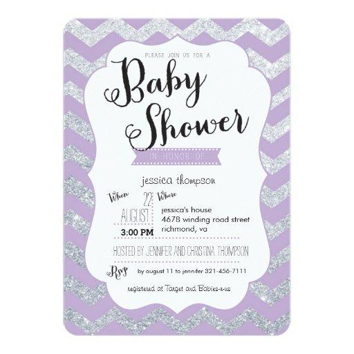 Silver Glitter & Purple Chevron  Invite