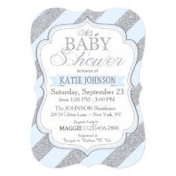 Silver Glitter Stripe Baby Shower Invitation