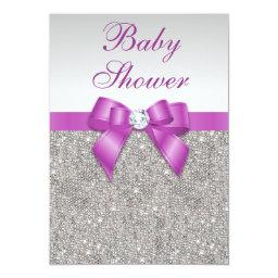 Silver Jewels Radiant Orchid Bow Baby Shower