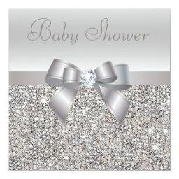 Silver Sequins, Bow & Diamond Baby Shower