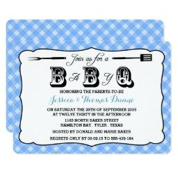 Simple Blue Gingham BBQ Baby Shower