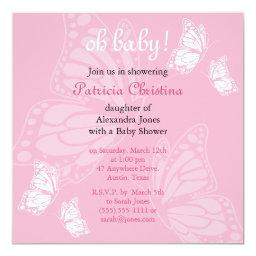 Simple Delicate Butterfly Pink Baby Shower Party