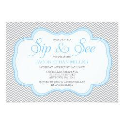 Sip and See Gray Chevron Blue Frame