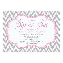 Sip and See Gray Chevron Pink Frame