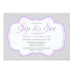Sip and See Gray Chevron Purple Frame