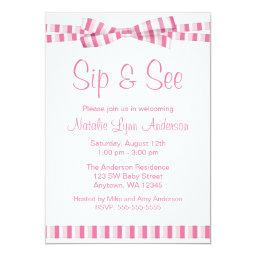 Sip and See Pink Stripe Ribbon Bow
