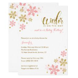 Snowflake Winter Baby Shower | Gold Pink Glitter