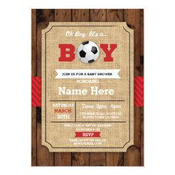 Soccer Red Boy  Wood Football Invite