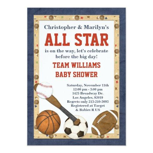 baby shower sports all star baby shower invitation