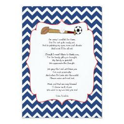 Sports theme baby shower gift POEM thank you note