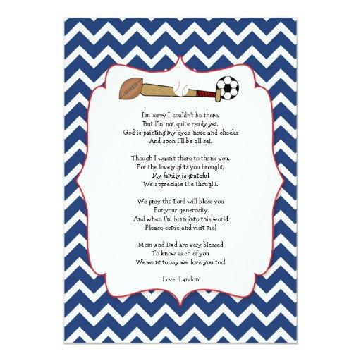 Sports theme  gift POEM thank you note