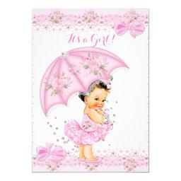 Sprinkle Baby Shower Girl Floral Pink Umbrella Invitations