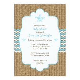 Starfish boy  invites blue burlap