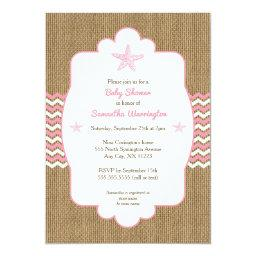 Starfish girl  invites pink burlap