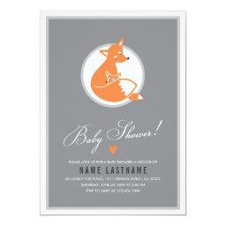 Stylish Fox Cute Baby and Mommy  Invite