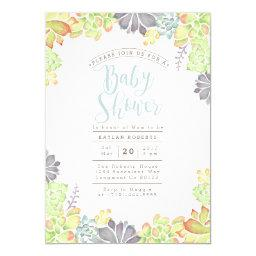 Succulent Bliss Watercolor | Baby Shower Invite