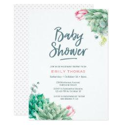 Succulent florals Girl Baby Shower